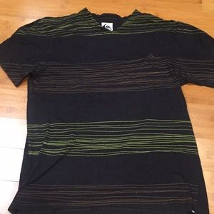 L Quicksilver vneck slim fit T-shirt stripes men's